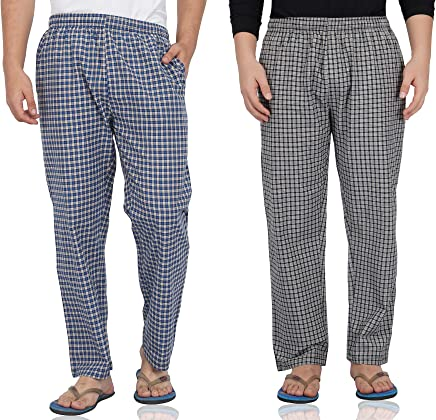 Fflirtygo Mens Pyjama Cotton Combo, 100% Cotton Export Quality Fabric, (Pack of 2) Sleep Pants, Pyjama for Men, Men's Leisure Wear, Night Wear Pajama – Blue and Brown Check Combo Pack Men's Pajama