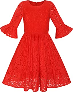 Sunny Fashion Girls Dress Red Bell Sleeve Lace Ruffle Skirt Holiday Dress Size 5-12 Years