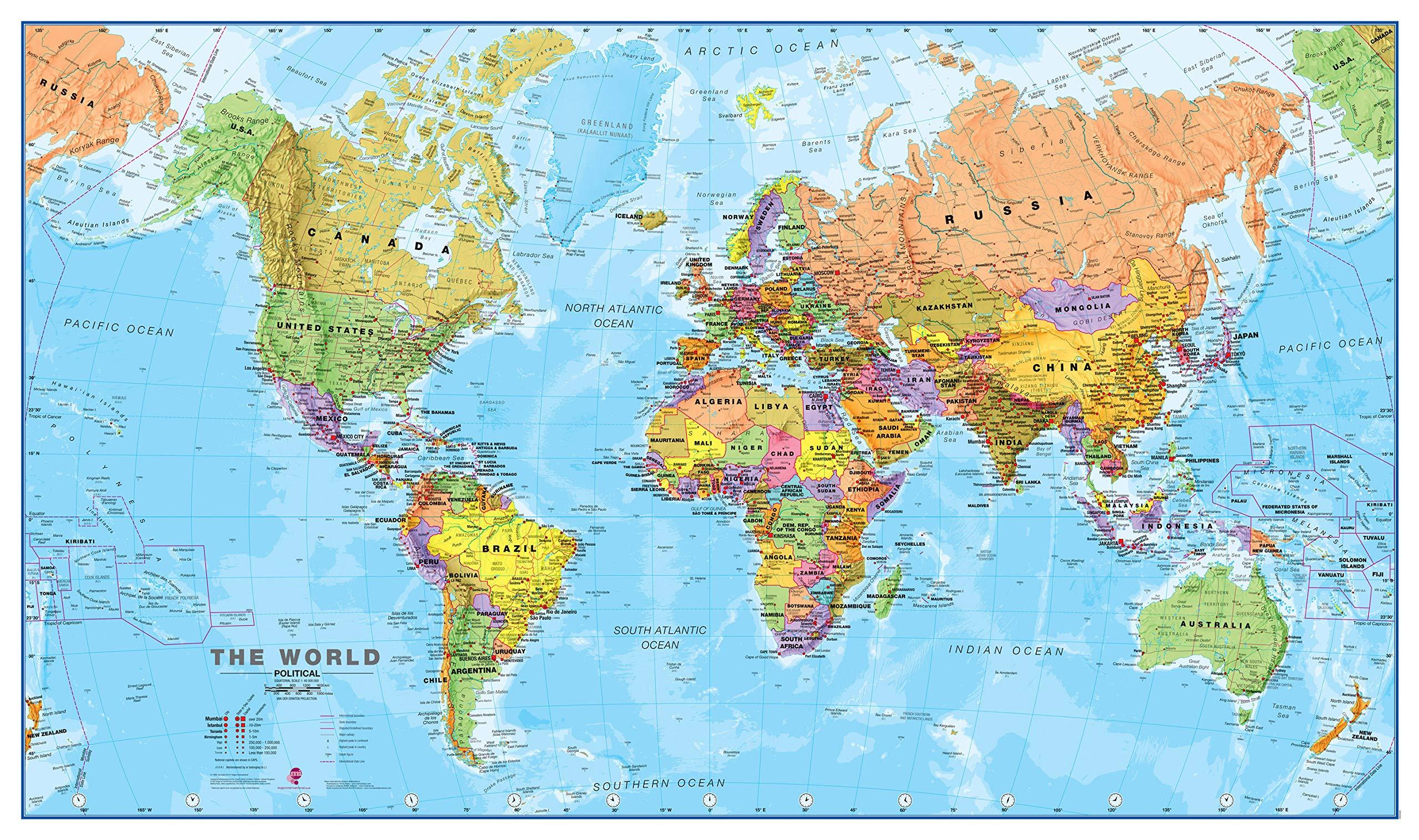 Maps International - Mapa del mundo, póster político con el mapa del mundo, plastificado - 84,1 x 59,4 cm: Amazon.es: Oficina y papelería
