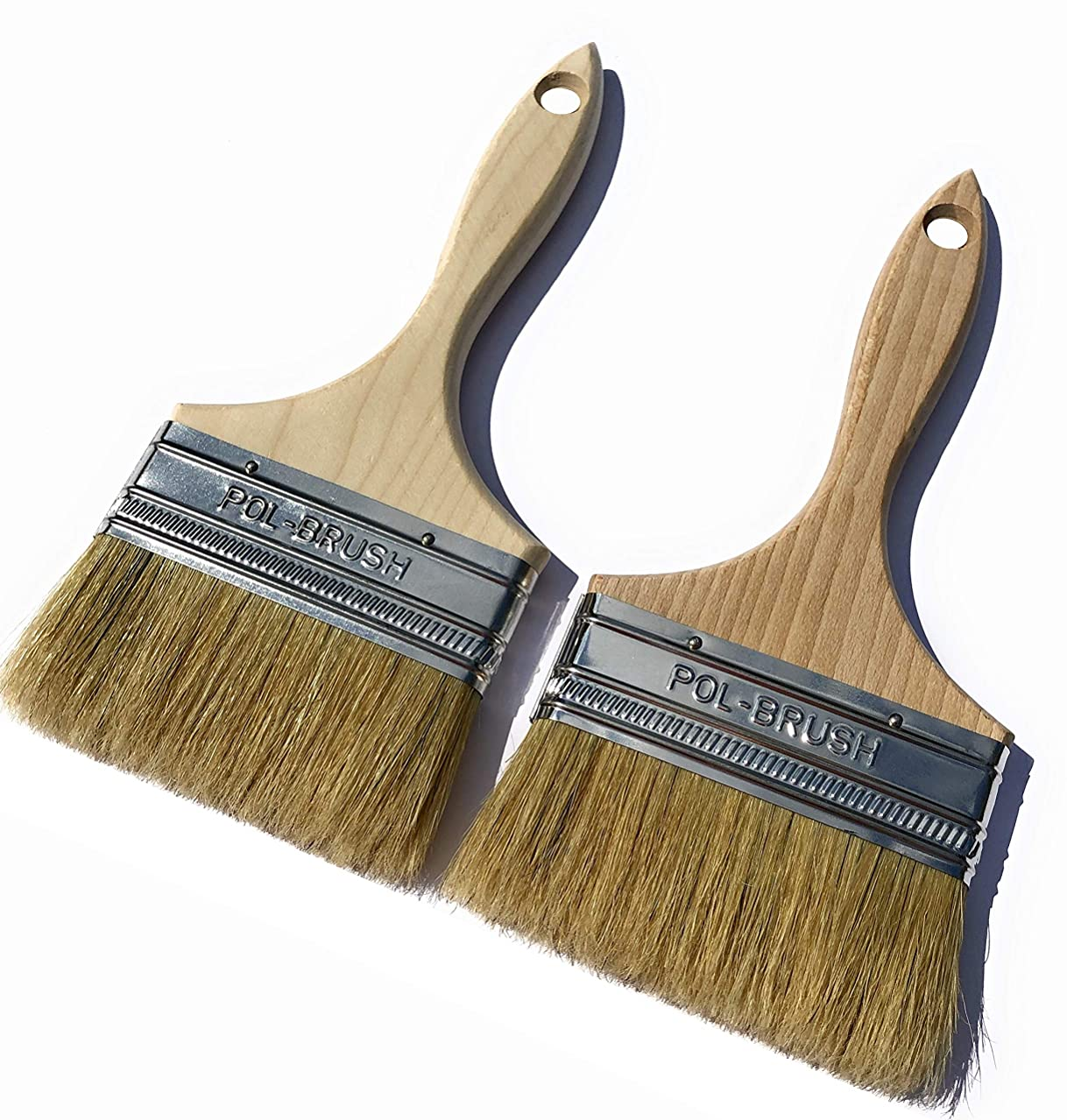 2 Pack - 4 inch European Paint Brushes - Natural Bristle/Wood Handle - for Professional & Amateur Paint Job; for All Latex & Oil Base Paints, Stains, Varnish, Shellac & Wax. (2Pack 4