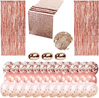 Rose Gold Party Decorations Kit – 43-Piece Pack of 36 Rose Gold Confetti Party Balloons – Includes 2 Foil Fringes, 1 Table Runner, 3 Ribbons, 1 Confetti Bag – Gorgeous Colors – 100% Safe and Practical