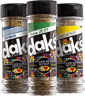 DAK's LEAN GREEN TRIO – Three favorite blends ideal for poultry, seafood and veggies, containing 0% SALT and 0% MSG! FREEDOM from Salt, Low Salt, Low Sodium! All natural, 100% MSG and Sodium Free!