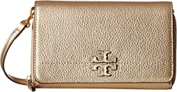 Tory Burch McGraw Metallic Flat Wallet Crossbody