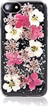 Real Pink Flower Phone Case for iPhone 8/7/6 Fit - Made w/Real Flowers & Glitter Edge to Edge Bumper TPU Case, Durable Shockproof & Lightweight Slim Phone Case with Tempered Glass Screen Protector