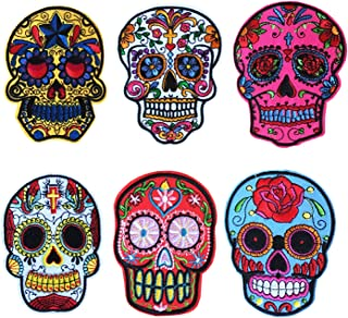 Sugar Skull Iron on Patches, Skull Patches,Sew On Patches for Jeans, Jackets, Bags, Vest, Arts and Crafts