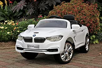 First Drive BMW 4-Series White 12v Kids Cars - Dual Motor Electric Power Ride On Car with Remote, MP3, Aux Cord, Led Headlights, and Premium Wheels