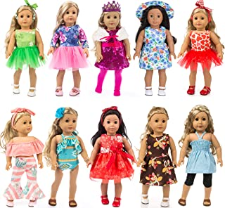 iBayda Total 24pcs/Set Doll Clothes and Accessories for 18 inch American Girl Doll ,Our Generation Doll Include Doll Outfits Mix Horn Style,Off-Shoulder Top,Princess Party Dress,Bikini etc