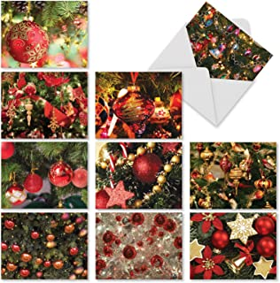 Red Bliss - 10 Blank All Occasion Holiday Cards with Envelopes (4 x 5.12 Inch) - Assorted Boxed Notecard Set, Photos of Seasonal Christmas Tree Ornaments - Beautiful Season's Greetings M3266