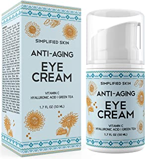 Anti-Aging Eye Cream for Dark Circles, Wrinkles, Bags & Puffiness. Best Under & Around Eyes Anti-Aging Treatment with Vitamin C, Hyaluronic Acid, Green Tea & Organic Rosehip oil by Simplified Skin 1.7 oz