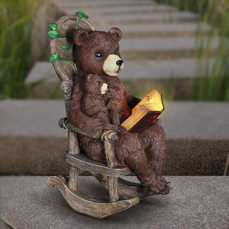 Exhart Solar Bears Reading a Book Garden R - Superlatite Hand-Painted Max 76% OFF Statue