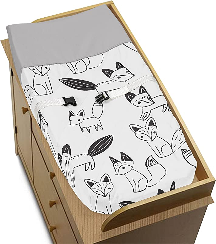 Sweet Jojo Designs Grey Black And White Fox Collection Boys Or Girls Baby Changing Pad Cover