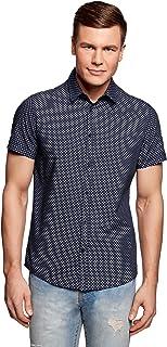 oodji Ultra Hombre Camisa Entallada con Estampado Pequeño