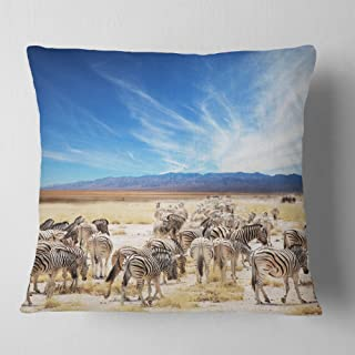 Designart Herd of Zebras under Blue Sky' African Throw Cushion Pillow Cover for Living Room, sofa 18 in. x 18 in