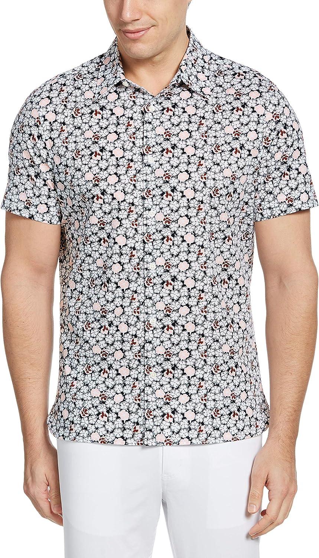 Perry Ellis Men's Sketch Floral Print Short Sleeve Button-Down Shirt