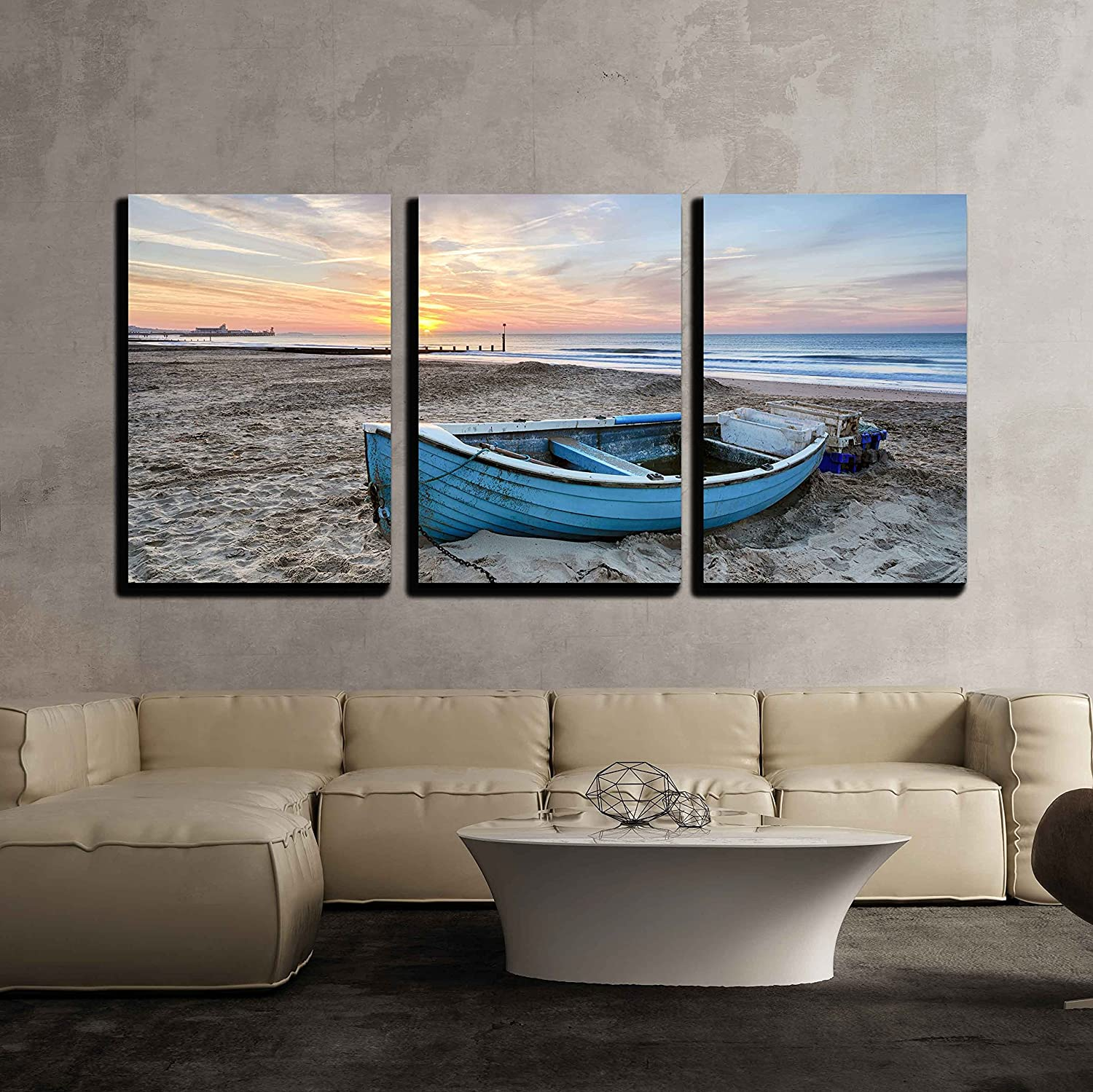 Wall26 - 3 Piece Canvas Wall Art - Turquoise bluee Fishing Boat at Sunrise on Bournemouth Beach with Pier in Far Distance - Modern Home Decor Stretched and Framed Ready to Hang - 16 x24 x3 Panels