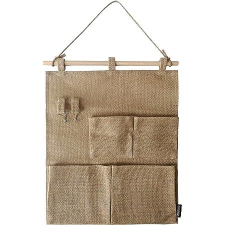 E EBETA Hanging Organiser Door Wall Organiser Utensil Bag Hanging Storage Bag for Entrance Wardrobe Bathroom 3 Large Compartments Trees