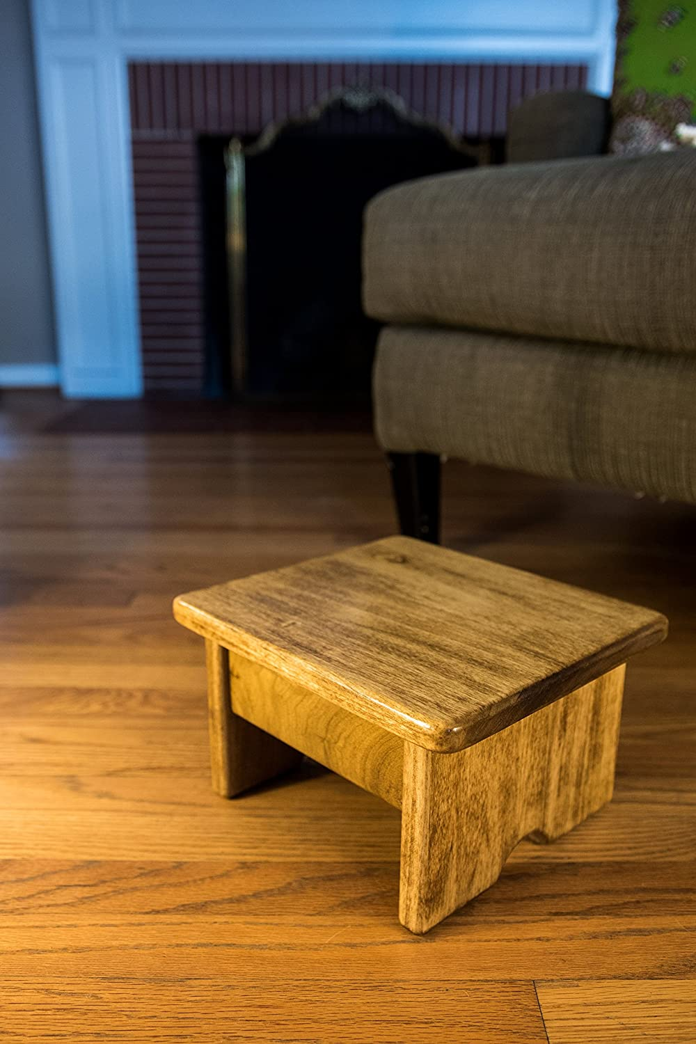 Foot Stool Poplar Wood Maple Stain 6  Tall Mini (Made in the USA)