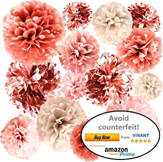 VINANT 20 PCS Rose Gold Party Decorations - Metallic Foil and Tissue Paper Pom Poms - Baby Shower - Bridal Shower - Wedding - Bachelorette - Birthday Party - 14