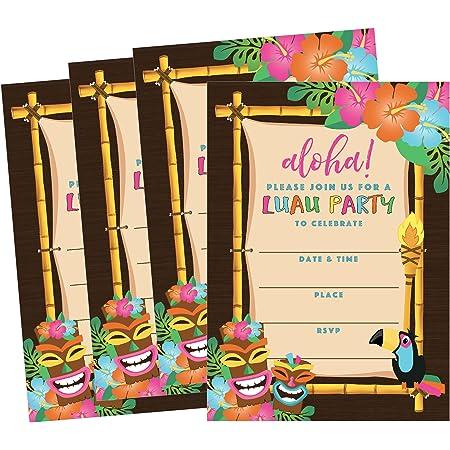 50 Tiki Luau Hawaiano Verano Piscina Invitaciones De Fiesta Para Niños Niños Adolescentes Y Adultos Flor Summertime Cookout De Cumpleaños Tarjetas De Invitación Niños Y Niñas Floral Reunión Familiar Llenar De