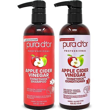 PURA D'OR Apple Cider Vinegar Thin2Thick Set Shampoo Conditioner for Regrowth, Hair Loss, Clarifying, Detox (2 x 16oz) Biotin, Keratin, Caffeine, Castor Oil, All Hair Type, Men/Women, Packaging varies