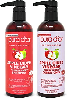 PURA D'OR Apple Cider Vinegar Thin2Thick Set Shampoo Conditioner for Regrowth, Hair Loss, Clarifying, Detox...