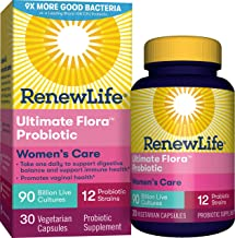 Renew Life Women's Probiotics 90 Billion CFU Guaranteed, 12 Strains, Shelf Stable, Gluten Dairy & Soy Free, 30 Capsules, Ultimate Flora Women's Care