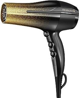 Secador de pelo Remington de titanio de secado rápido con tecnología iónica y cerámica, color negro y dorado brillante, D5951