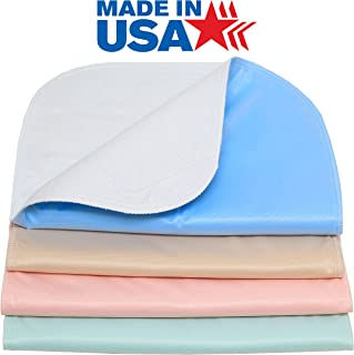 4 Pack 100% Cotton Top- 34 x 36 Reusable Incontinence Underpad - Heavy Weight Soaker/Made in The USA Washable Incontinence Bed Pad