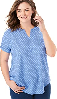 Woman Within Women's Plus Size Notch Neck Tee
