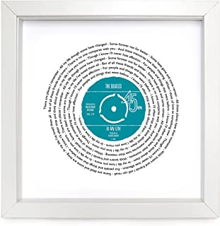 The Beatles in My Life Personalised Song - Vinyl Record Print of First Dance or Our Song - Fully Framed White Box 9.5 inch Frame