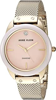 Anne Klein Women's Diamond Dial Mesh Bracelet Watch with Ceramic Bezel, AK/3258LPGB