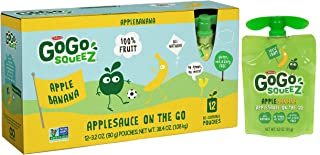 GoGo squeeZ Applesauce on the Go, Apple Banana, Portable BPA-Free Pouches, Gluten-Free, 3.2 Oz, Pack of 12