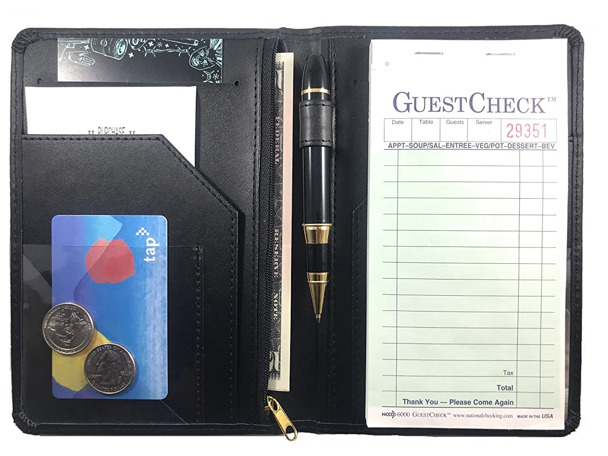 Waitress Server Book Wallet - Restaurant Waiter Notepad - Money Organizer - Guest Check - Zipper - 10 Pockets - 5 x 7.5 Inch