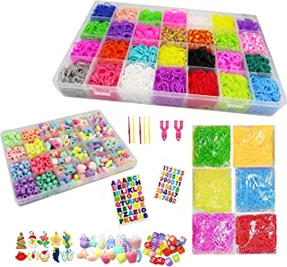 Kin Loya Rubber Band 15000pcs Loom Kit Refills Set for Kids Bracelet Loom Craft 34 Colors with 500pcs S Clips Colorful Beads Alphabet Beads Loom Charms