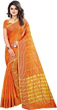 The Fashion Outlets Women's Cotton Silk Manipuri Saree with Blouse (Red Orange)
