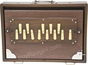 Shruti Box Instrument, Maharaja Musicals, Small, 13 x 9.5 x 3 Inches, Blemished, With Bag, Walnut Color, 13 Notes, Sur Peti Surpeti, Indian Musical Instrument (PDI-FAH)