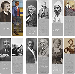 Creanoso Famous Historical African Americans Bookmark Cards (30-Pack) – Learning Reading Bookmarks Collection Set – Stocking Stuffers for Young Men & Women, Students – Classroom Incentives