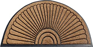 A1 Home Collections A1HOME200107-2-NW Handcrafted Sunburst Sturdy Well Made Double Doormat, Rubber and Coir, Beige/Black