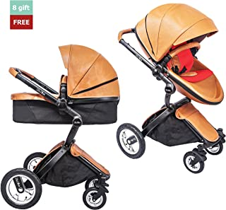 KID1st elegant all-in-1 high landscape All-Terrain Egg Shell infant Baby Stroller Travel System toddler pushchair baby pram with Carriage Bassinet Combo for HOT MOM (Brown)
