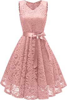 Women's Vintage 1950s Style Lace Flare V-Neck Cocktail Party Dresses Short Length with Sash