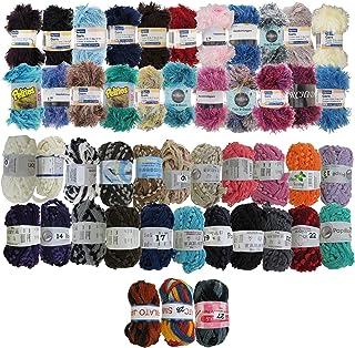 BambooMN Brand - Surprise Assorted Package Yarn (Eyelash Yarn & Pompom Yarn) - 50g - 6 Skeins