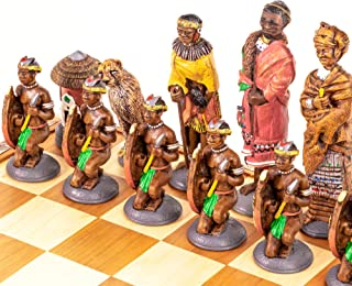 Large African Tribal Chess Set - Zulu / Xhosa: Hand-Painted Themed Chess Set Made in South Africa