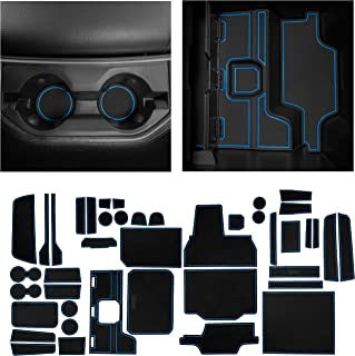 CupHolderHero fits RAM 1500 Accessories 2019-2022 Interior Non-Slip Anti Dust Cup Holder Inserts, Center Console Liner Mats, Door Pocket 44-pc Set (Crew Cab with Bucket Seats) (Blue Trim)