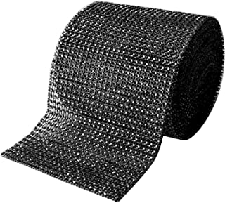 Royal Imports Rhinestone Ribbon Diamond Bling Sparkle Wrap Bulk for Event & Party Decorations, Wedding Cake, Bridal Shower, Birthdays, Arts & Crafts 30 Ft, 1 Roll Black