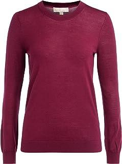 Woman/'s red long cardigan scollo tondo