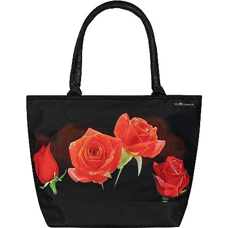 VON LILIENFELD Handtasche Damen Motiv Blumen Rosenbouquet Shopper Maße L42 x H30 x T15 cm Strandtasche Henkeltasche Büro