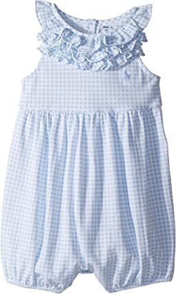 Ralph Lauren Baby - Ruffled Gingham Cotton Romper (Infant)