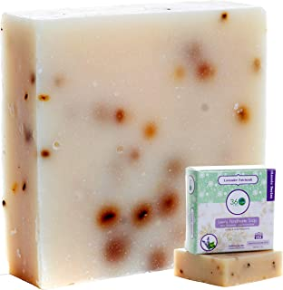 360Feel Lavender Patchouli Soap - Large 5oz Organic Castile Handmade Soap bar- Refreshing Earthy with peppermint leaves Skin Scrub Exfoliation - Mens Soap -Deodorant Essential Oils - Made in USA