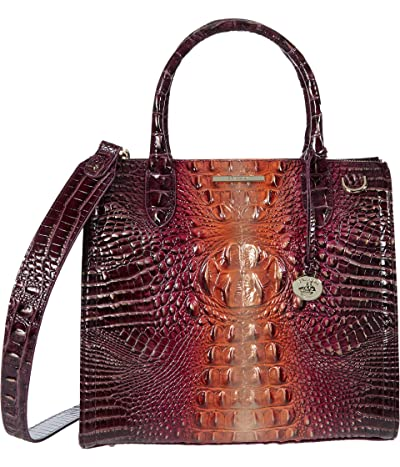 Brahmin Ombre Melbourne Caroline Satchel (Sunset) Handbags