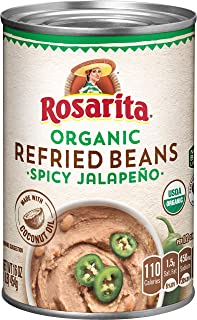 Rosarita Organic Spicy Jalapeno Refried Beans, 16 Oz. (Pack of 12)